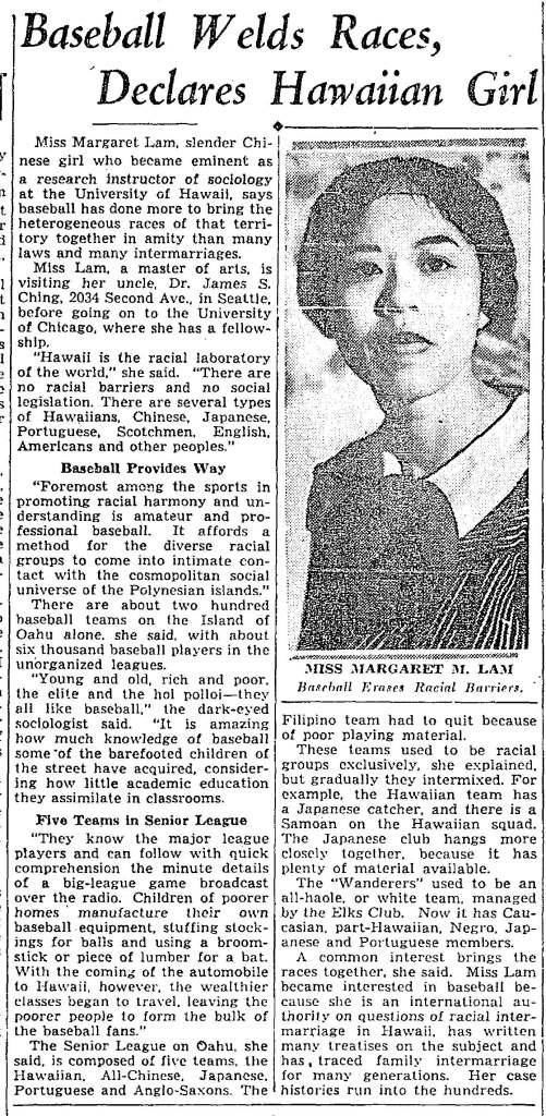 While visiting family, Margaret was profiled in the Seattle Times. Her article on baseball had been published in in